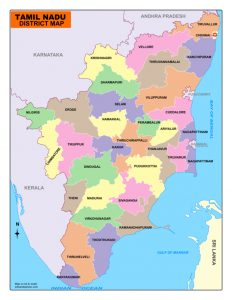 Tamil Nadu District map.