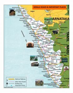 Kerala turism map