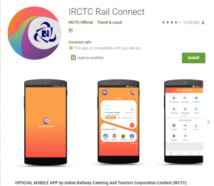 Government of India Apps irctc rail connect